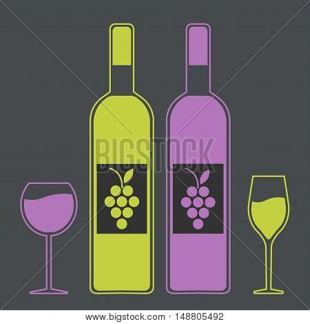 set emblem logo symbol wine festival wine tasting multicolored on black background. vector illustration.