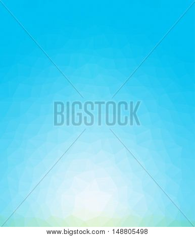 Blue color glowing light geometric rumpled background. Low poly style gradient illustration. Graphic background.