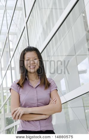 Asian Business Woman With Office Background