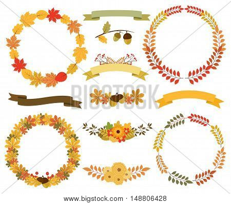 Vector autumn wreaths ribbon banners and floral bouquets