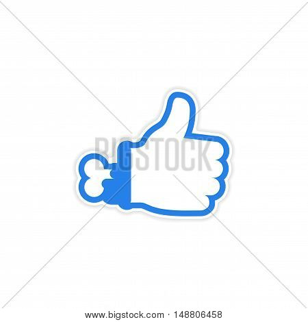 sticker Zombie bloody hand on white background