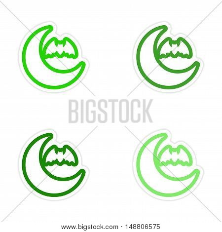 assembly sticker new moon and a bat on white background