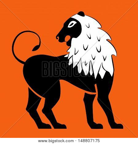 Stylized black lions. Lion silhouette. Vector. Eps10. Isolated on a white background.