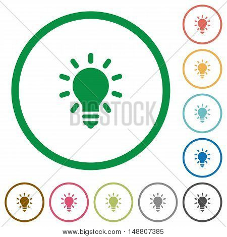 Set of lighting bulb color round outlined flat icons on white background