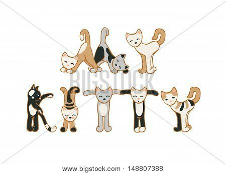 Vector inscription: my kitty. Cat letters on white