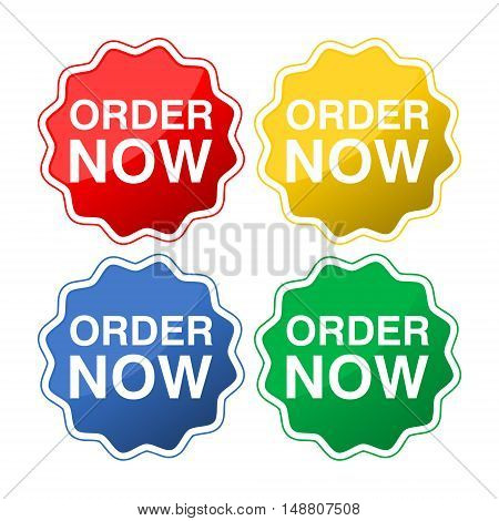 Order now colorful stickers set on white background