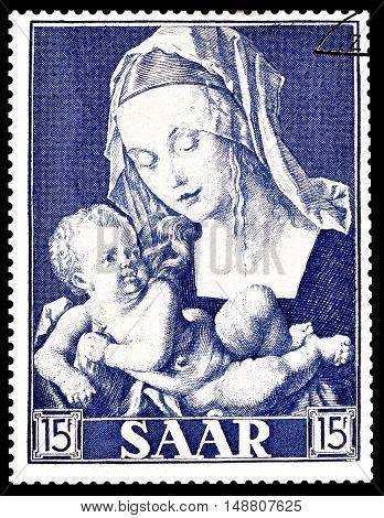 SAAR - CIRCA 1954 : Cancelled postage stamp printed by Saar, that shows painting by Dürer.