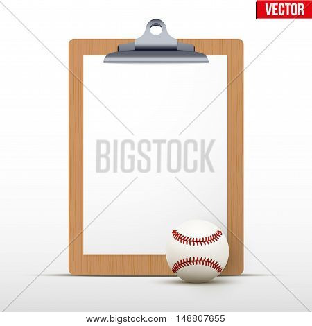 Coaching blank clipboard and baseball ball. Editable Vector illustration Isolated on white background.