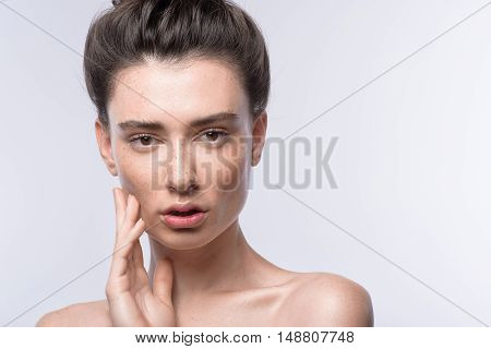 skin care concept, portrait of a young woman with copy space