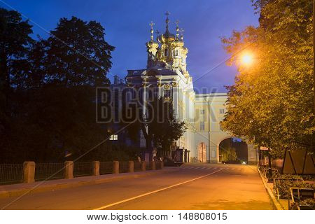SAINT PETERSBURG, RUSSIA - JULY 26, 2015: View of the Catherine Palace, july night. Historical landmark of the Tsarskoye Selo