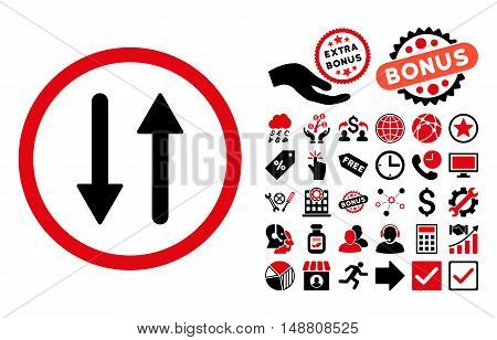 Arrows Exchange Vertical icon with bonus pictures. Vector illustration style is flat iconic bicolor symbols, intensive red and black colors, white background.