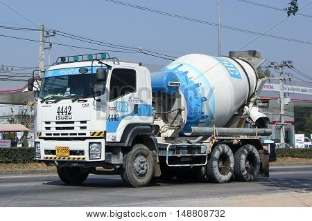 CHIANG MAI, THAILAND - JANUARY 5 2015:  Concrete truck of CPAC Concrete product company. Photo at road no.121 about 8 km from downtown Chiangmai, thailand.