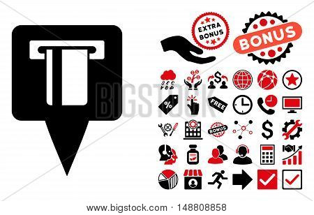 ATM Machine Map Pointer pictograph with bonus design elements. Vector illustration style is flat iconic bicolor symbols, intensive red and black colors, white background.