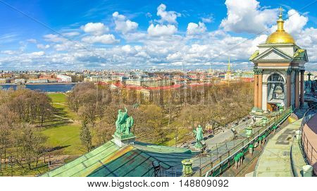 The view on Alexander Garden Admiralty building and Neva embankment from the Colonnade of St Isaac's Cathedral St Petersburg Russia.