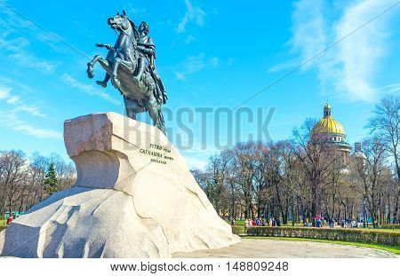 SAINT PETERSBURG RUSSIA - APRIL 25 2015: The Bronze Horseman is the famous equestrian statue of Peter the Great located in Senate Square that became the symbol of the city on April 25 in Saint Petersburg.