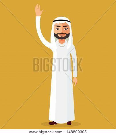 Saudi arab man cartoon character raising hand up. Emirate man stand waving her hand.