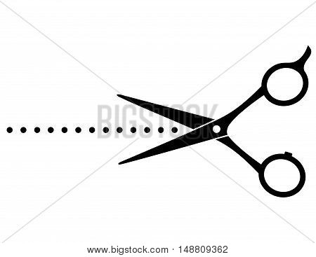 cutting scissors image and points on white background