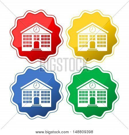 School building. Single flat icon. Vector illustration.