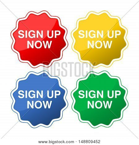 Sign up now sticker isolated on white background