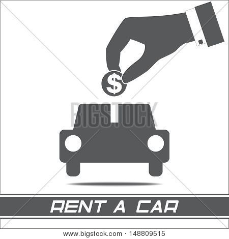 Rent a car rental automobile hand coin isolated on white background