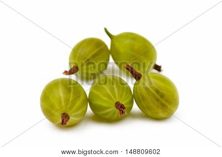 Fresh ripe gooseberries isolated on a white background