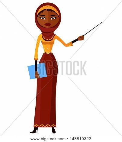 Arab teacher with a pointer. Young business woman presenting something.