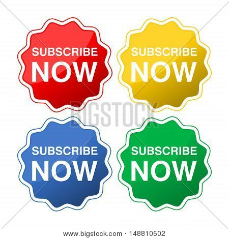 Subscribe now button icon set on white background