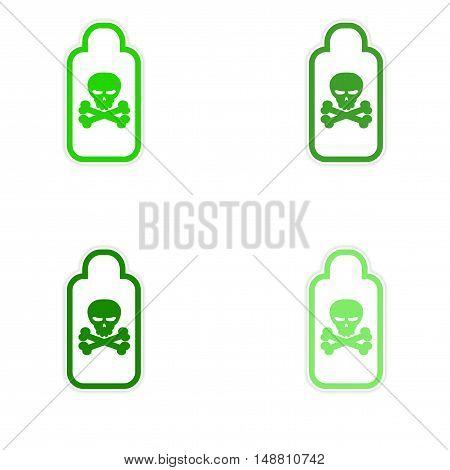 assembly sticker jar of poison on a white background