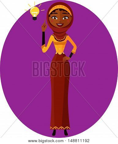 Arab young business woman making attention gesture. Girl character with hijab flat cartoon vector illustration. Eps10. Isolated on a white background.