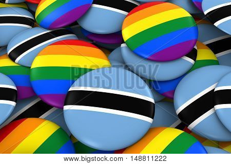 Botswana Gay Rights Concept - Botswanan Flag And Gay Pride Badges 3D Illustration
