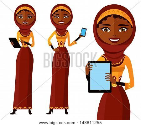 Arab woman wearing traditional Arabic dress working on a handheld device . arab woman character use tablet or laptop online. muslim user flat cartoon vector illustration. Eps10. Isolated on a white background.