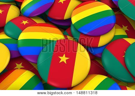 Cameroon Gay Rights Concept - Cameroonian Flag And Gay Pride Badges 3D Illustration