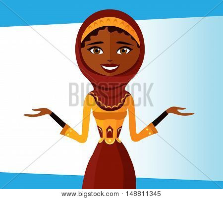 The beautiful muslim woman in a hijab. arab people character.