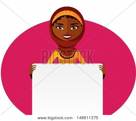 Businesswoman. Cute Arab girl holding board cutout flat cartoon vector illustration. Eps10. Isolated on a white background.