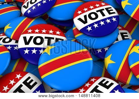 Dr Congo Elections Concept - Congolese Flag And Vote Badges 3D Illustration