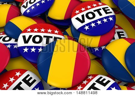 Chad Elections Concept - Chadian Flag And Vote Badges 3D Illustration