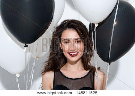 beautiful happy woman posing on white background