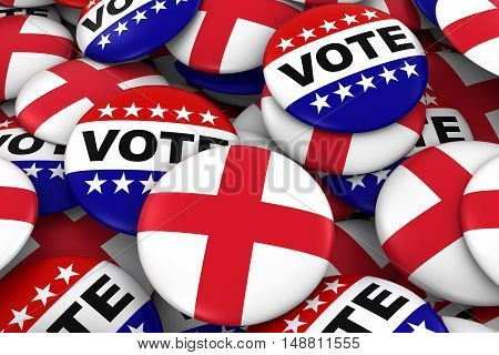 England Elections Concept - English Flag And Vote Badges 3D Illustration