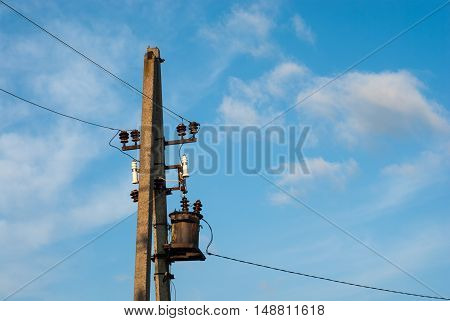 Transmission tower on a sky background. Power line. Power transmission. Power transmission.