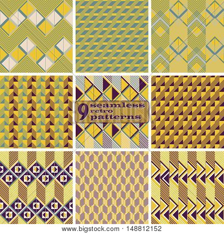 Set of 9 seamless retro patterns. Beautiful graphic prints with zigzags, squares, triangles, diagonal lines. Abstract geometric ornaments in vintage colors. Vector illustration for stylish design