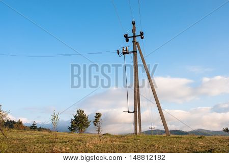 Transmission tower on a sky background. Power line. Power transmission.