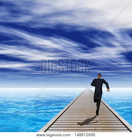 Conceptual 3D illustration of old wood deck pier on coast of exotic blue sea or ocean waves with a businessman running, sky background