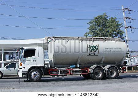 CHIANG MAI, THAILAND - JANUARY 5 2015:  Animal food Tank Truck of KYD Transport. On road no.1001, 8 km from Chiangmai city.