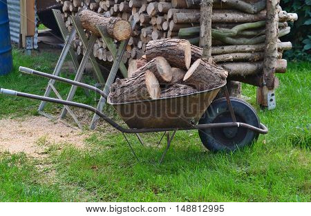 Traditional rural utility timber transport South Bohemia Czech Republic