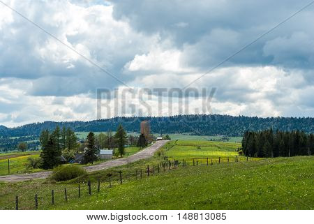Mountain village. Mountain road. Mountain meadow. Rural landscape. Carpathians, Ukraine.