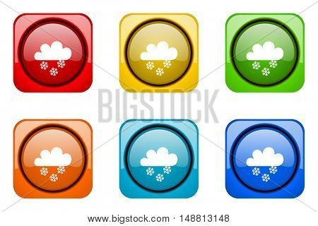 snowing colorful web icons