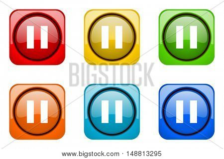 pause colorful web icons