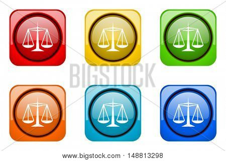 justice colorful web icons