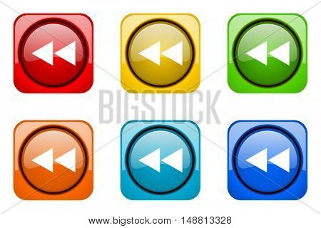 rewind colorful web icons