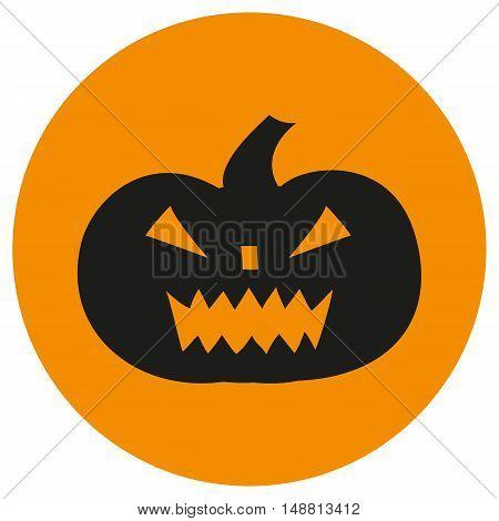 Cartoon halloween pumpkin icon. Vector pumpkin with sinister smiling face.